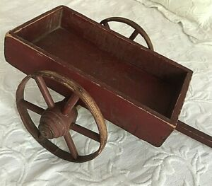 Antique Primitive Toy 2 Spoked Wheel Red Wood Pull Wagon Cart Handle Aafa