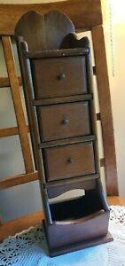 Antique Wood 3 Drawer Spice Apothecary Wall Cabinet Box Primitive Vintage 17