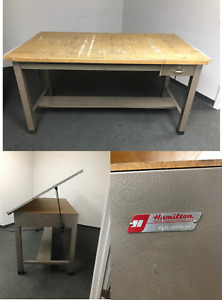Vintage Hamilton Drafting Table Steel Base W tilting Wood Top pickup Only