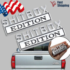 2pcs Shitbox Edition 3d Emblem Decal Badge Stickers For Gm Gmc Chevy Car Truck