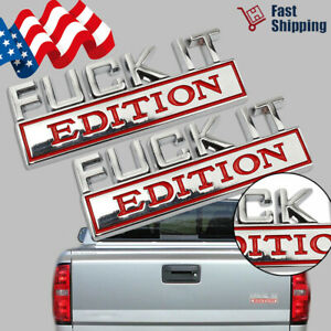 2pc F Ck It Edition 3d Emblem Badges Sticker Decal For Chevy Car Truck Universal