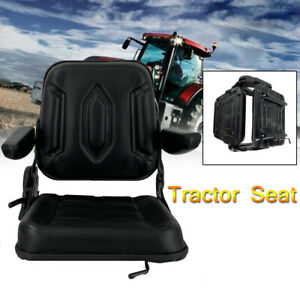 Lawn Garden Slidable Tractor Seat Riding Mower Seat Back Adjust Pvc W Armrest