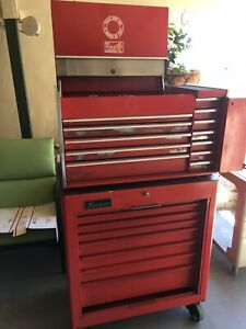 Vintage Snap On Tool Box Chest Kr 537a Amp Kra 300f Combo W Keys And New Lining
