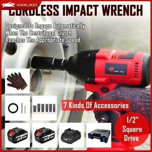 For Car 800nm Cordless Electric Impact Wrench 1 2 Brushless Driver 2 Batteries