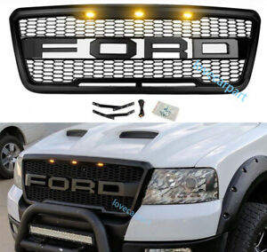 For 2004 2008 Ford F150 Front Bumper Grille Raptor Style Grill W Led Matte Black