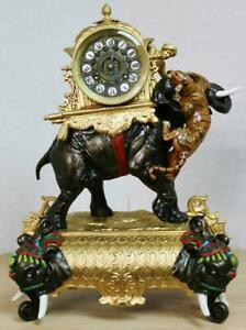 Antique 19thc French 8 Day Gilt Metal Elephant Tiger Figural Mantle Clock