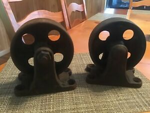 Set Of Two Industrial Cast Iron Cart Hit Miss Antique Wheels