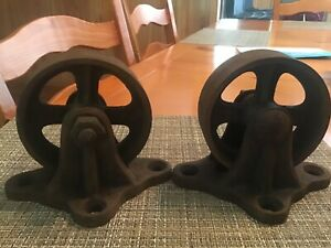Set Of Two Industrial Cart Cast Iron Hit Miss Wheels