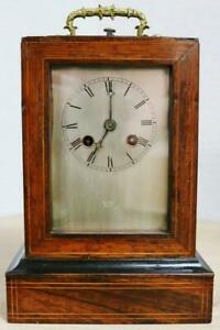 Antique French Rosewood Marquetry Inlaid 8 Day Officers Mantle Carriage Clock