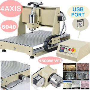 6040 Usb 4axis Cnc Router Engraver 1 5kw Vfd Carve Mill Metalwork Cutter Machine