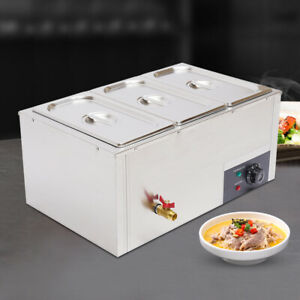 3 pan 7l Commercial Electric Bain Marie Buffet Steamer Countertop Food Warmer Us