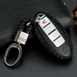 1x Carbon Fiber Styling Car Key Case For Nissan Infiniti Accessories Us Shipping