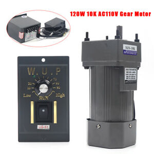 Used 110v Reversible Ac Gear Motor Electric W variable Speed Controller 10k 135