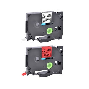 2pk Compatible With Brother Tz Tze 231 431 12mm Black On White red Label Tape