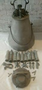 Antique Empire Mccormick Bucket Milker Machine Ss Pulsator Claw Cluster Cups Lot