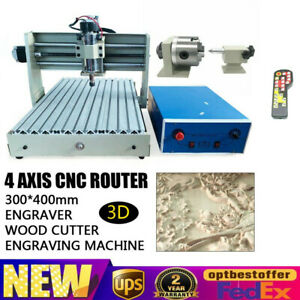 400w 4 Axis 3040 Cnc Router Wood Engraving Milling Cutting Machine Controller