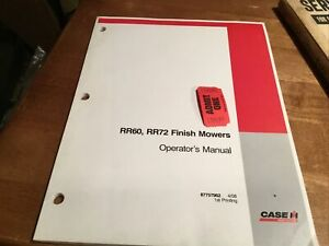 Case Rr60 Rr72 Finish Mower Operator s Manual 87757962 One Used