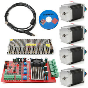 Stepper Motor Nema23 4axis 290oz in 4a Usb Driver 4axis Board Supply Cnc Used