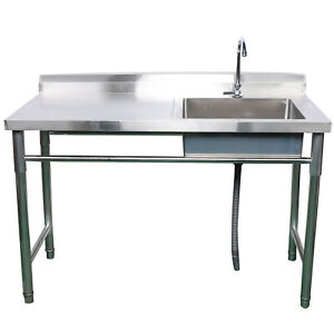 Commercial Single Double Bowl Kitchen Wash Sink Stainless Steel Catering Stand