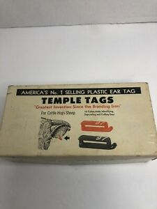Vintage Temple Tag Ear Tagging System Livestock Cattle Hogs Sheep Tagger Tag