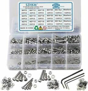 Szhkm 850pcs Stainless Steel Nuts And Bolts Assortment Metric Machine Screws Set