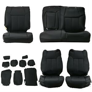 For 2014 2021 Toyota Tundra Crewmax Black Leather Front Rear Seat Covers Set