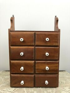 Antique Wood Drawer Cabinet Spice Box Wall Shelf Primitive Hanging Apothecary