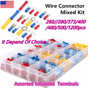 Assorted Insulated Electrical Wire Splice Terminal Spade crimp ring Connector Us