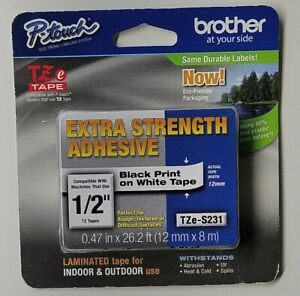 Brother P touch Tze s231 12mm Label Tape Extra Strength Adhesive Black Nwt