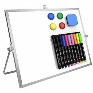 Dry Erase White Board 16 x12 Large Magnetic Desktop Whiteboard With Stand 10