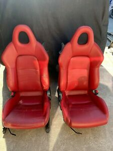 00 05 Honda S2000 S2k Left Right Front Seats Leather Assy Red Oem Tear
