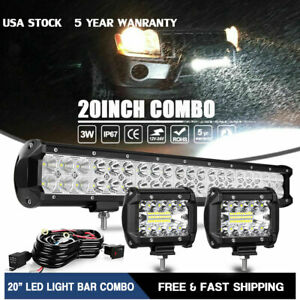 20inch Led Light Bar Combo W Wiring 2x4 Pods Kit For Jeep Truck Suv Atv 22