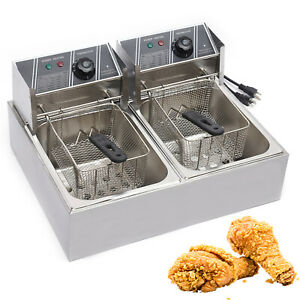 12l 5kw Electric Deep Fryer Dual Tank Commercial Restaurant Stainless Steel New