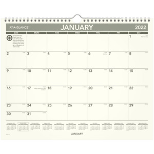At a glance Recycled Monthly Wall Calendar 15 X 12 Jan dec Pmg772822 Wall