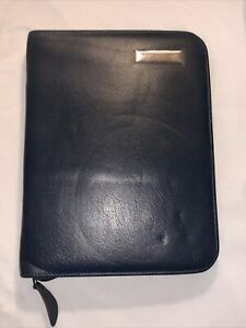 Blue Leather Franklin Covey Binder 7 Ring Zip Closure 8 X 10 5 Planner Classic