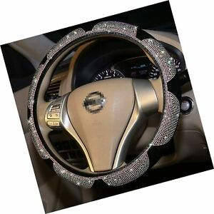 Fuzzy Bling Steering Wheel Cover For Woman Sunflower Sparkly Colorful Diamon