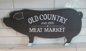 Brown Pig Meat Market Wall Sign Primitive French Country Kitchen Farmhouse Decor