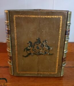 English Vintage Triangular Shaped Leather Book Waste Basket Library Office Decor