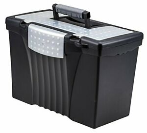 File Box With Organizer Lid Plastic Office File Storage Box For Letter Black