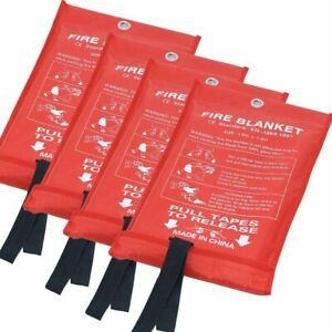 Emergency Fire Blankets Flame Retardant Protection And Heat White 4pack