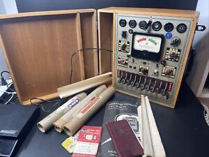Vintage Emc Tube Tester Model 206 With Manual And Wooden Box