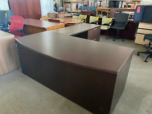 Executive L shape Desk By Knoll Office Furniture In Espresso Color Wood