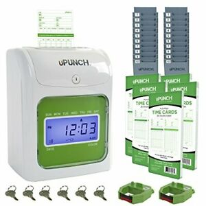 Upunch Time Clock Bundle With 100 Cards 2 Ribbons 2 Time Card Racks 6 Keys