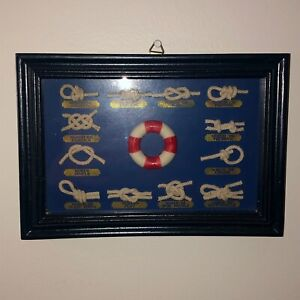 French Nautical Sailor Sailing Boat Rope Knots Mini Shadow Box Framed Picture