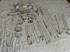 Lot Of Antique Vintage Silver 925 Jewelry Necklace Rings Bravelets 400 Grams