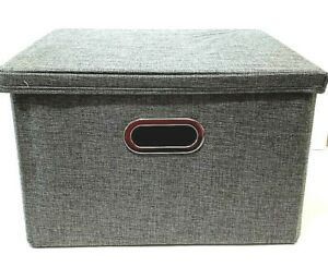 File Storage Box Gray Linen Look With Lid Suitable For Letter Or Legal Papers