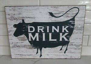 Navy Cow Milk Wall Sign Primitive Dairy French Country Kitchen Farmhouse Decor