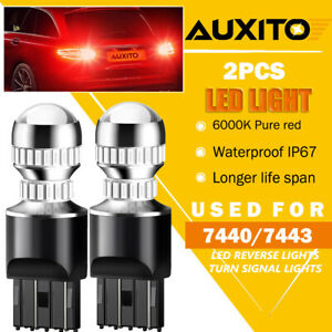 2x Auxito 7440 7441 7443 7444 Led Brake Stop Light Bulb Lamp Pure Red Bright