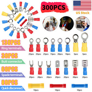 300pcs Insulated Electrical Wire Splice Terminal Spade Crimp Ring Connectors Kit