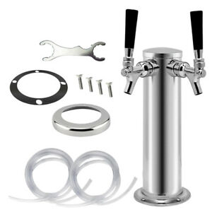 Silver Double Tap Draft Beer Tower dual Kegerator Chrome Faucet Stainless Steel